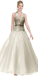 Gathered prom ball gown