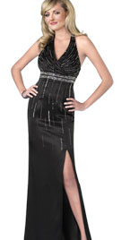 Beaded Patterned Evening Dress
