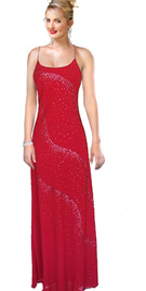 Silk chiffon beaded red prom dress