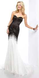 Fringed Strapless Prom Gown | Designer Prom Dresses