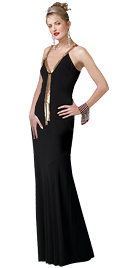 Black V-neckline prom party dress