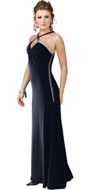 Long velvet black prom dress