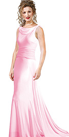 Satin Cowl Neck Embellished Back prom Gown