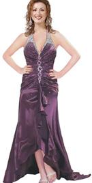 Ruffled Hem Beaded Evening Day Dress