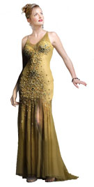 Net with satin dress has a distinguishing U neckline