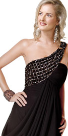Magnificent Jeweled One Shoulder Dress | Red Carpet Gown