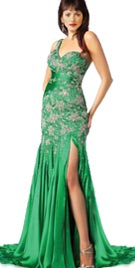Beaded One Shoulder Red Carpet Gown