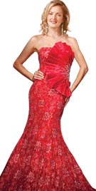 Strapless Embroidered Long Red Carpet Dress