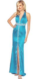 Stylish Beaded Halter Spring Gown