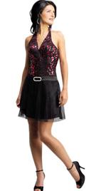 Brooch Studded Halter Summer Dress