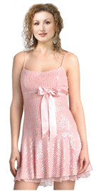 Short flirty dress in silk chiffon with Silk satin with pink spaghetti