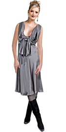 Knee length, hip and versatile silk satin modern daytime dress