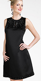 Beaded Satin Shift Dress
