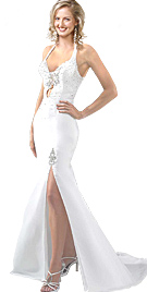 Front Slit Evening Gown
