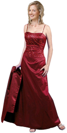 Exquisite Two Piece Satin Beaded Top With Full Skirt