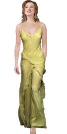 Satin Chiffon Ruffled Beaded Two Piece Dress