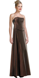 Strapless Crepe Back Satin Beaded Two Piece Dress