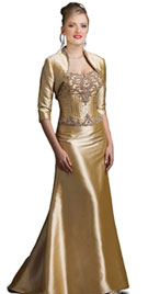 Golden Floor Touching Winter Dress